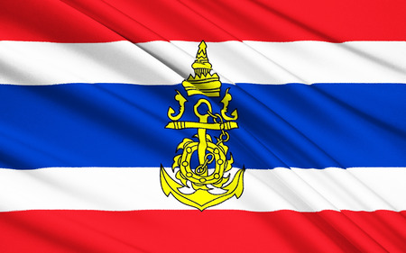 adopted: The flag of the Kingdom of Thailand - adopted on 28 September 1917, according to the royal decree issued by Rama VI. Stock Photo