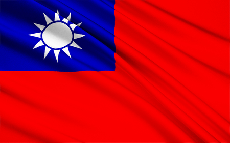 relocated: It was first used in mainland China by the KMT, the Chinese Nationalist Party, in 1917 and was made the official flag of the Republic of China in 1928. Since 1949, the flag is mostly used in Taiwan, where the Republic of China relocated after having lost  Stock Photo