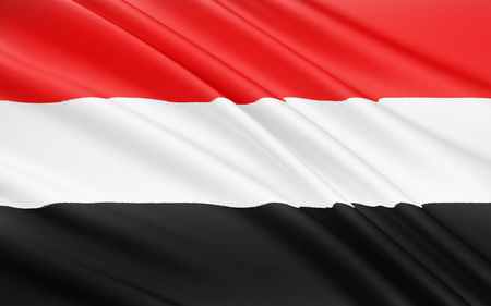 unified: Flag of Yemen - adopted on 22nd May 1990, the day that North Yemen and South Yemen were unified. The flag is essentially the Arab Liberation Flag of 1952. Stock Photo