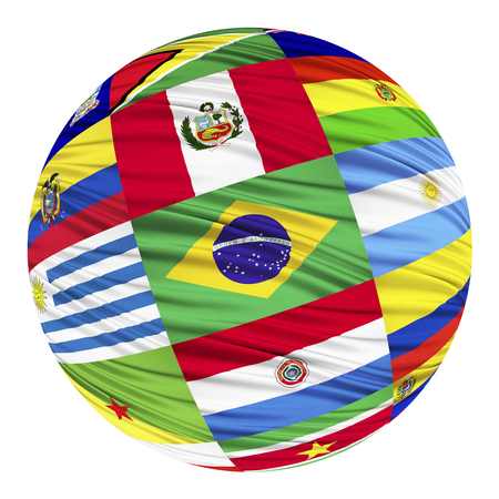 alphabetical order: Set of flags of South American countries, in alphabetical order, including dependent territories Stock Photo