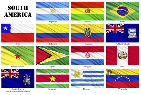 banderas america: Conjunto de banderas de los países de América del Sur, en orden alfabético, incluidos los territorios dependientes Foto de archivo