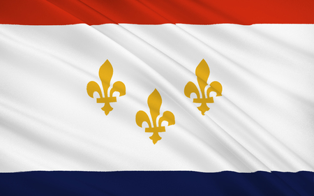 gulf: The national flag of New Orleans - a city of the United States, the largest in Louisiana, near the confluence of the Mississippi River in the Gulf of Mexico Stock Photo