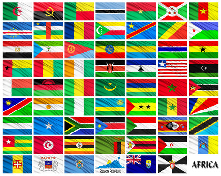 alphabetical order: Flags set of African countries in alphabetical order on a white background Stock Photo