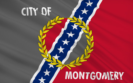 populous: The state flag of Montgomery - the capital and second most populous city of Alabama, USA.