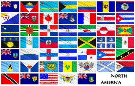 banderas america: Banderas conjunto de los países en orden alfabético de América del Norte sobre un fondo blanco Foto de archivo