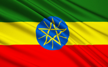 regime: Flag of the Federal Democratic Republic of Ethiopia - adopted after the defeat of Ethiopias Marxist Derg regime in power from 19741991. The emblem is intended to represent both the diversity and unity of the country.