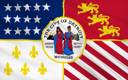 grand rapids: The national flag of Detroit - the city in the north of the USA, in Michigan.