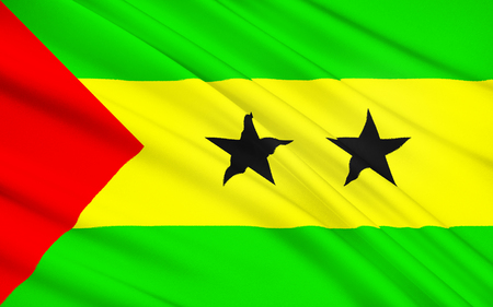 gained: Flag of Sao Tome and Principe - Adopted to replace the flag of Portugal from the colonial period, it has been the flag of the Democratic Republic of Sao Tome and Principe since the country gained independence. Stock Photo