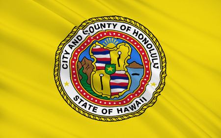 The national flag of Honolulu - a city on the island of Oahu of the Hawaiian archipelago, the capital of Hawaii, Honolulu, the administrative center of the district Stock Photo