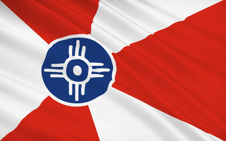 locality: The national flag of Wichita - a city in the US, the largest locality of Kansas. Located in the southern part of Kansas on the Arkansas River in Sedgwick County. Stock Photo