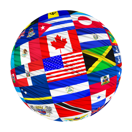 north american: Flags set of North American countries in alphabetical order on a white background