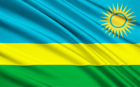 heroism: Flag of Rwanda - Adopted on 25th October 2001. The flag represents national unity, respect for work, heroism, and confidence in the future. It was adopted to avoid connotations to the 1994 genocide. Stock Photo