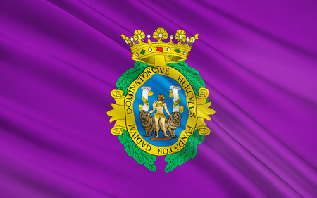municipality: Flag of Cadiz - a city in southwestern Spain, in the autonomous community of Andalusia. The municipality included in the district comarca Bahia de Cadiz. Stock Photo