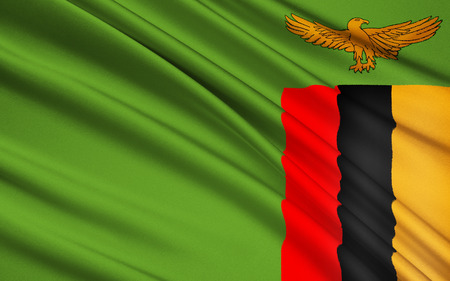 zambian flag: Flag of Zambia - adopted on 24th October 1964. Stock Photo