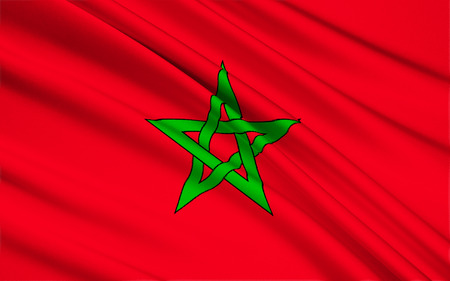 considerable: The flag of Morocco - Red has considerable historic significance in Morocco, proclaiming the descent of the royal Alaouite family from the Islamic prophet Muhammad via Fatima, the wife of Ali, the fourth Muslim Caliph. Stock Photo