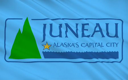 allegiance: The state flag of Juneau - a city in the United States, the capital of Alaska. Stock Photo
