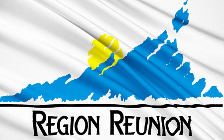 possession: Flag of Reunion - the unofficial symbol of the island of Reunion, a French possession. Reunion has no separate official flag.