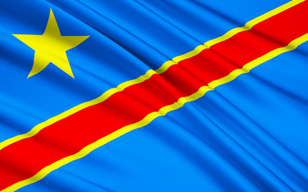 zaire: The national Flag of the Democratic Republic of the Congo Congo-Kinshasa, DROC - adopted on 20th February 2006. Not to be confused with the neighbouring Republic of the Congo Stock Photo