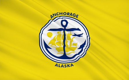 anchorage: The state flag of Anchorage - a city in the United States, located in the southern part of Alaska. Stock Photo