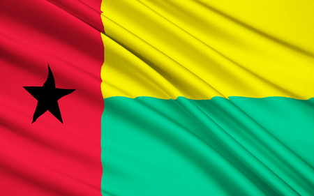 political party: Flag of Guinea-Bissau - adopted in 1973 following independence from Portugal. Based on the flag of Partido Africano para a Independencia da Guine e Cabo Verde PAIGC, still the dominant political party. Stock Photo