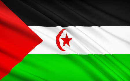sahrawi arab democratic republic: This is the flag used in the area controlled by the Sahrawi Arab Democratic Republic since the disengagement of the Spanish forces in 1976, the Polisario represents the territory.