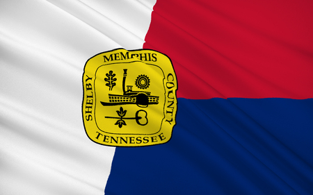 centers: The national flag of Memphis - a city in the south of the United States. One of the major economic centers of the south Stock Photo