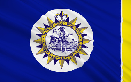 allegiance: The national flag of Nashville - a city in the south of the United States, the capital of Tennessee, Davidson County Center. Stock Photo