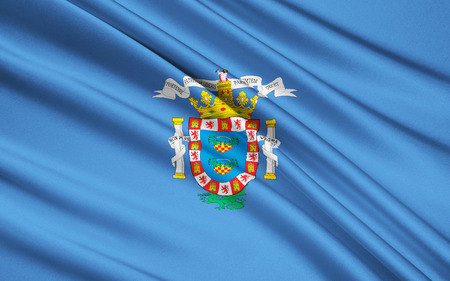 port of spain: The national flag of Melilla - Spanish city and port on the Mediterranean coast of Africa. It has the status of the autonomous city of Spain. Stock Photo