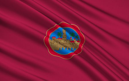 slopes: Flag of Cordoba - an ancient city in Andalucia, capital of the province of Cordoba. Located on the slopes of the Sierra Morena spur on the right bank of the Guadalquivir