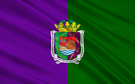 sol: Flag of Malaga - a city in southern Spain, in Andalusia. The administrative center of the province of Malaga. The municipality is a part of the district comarca Malaga - Costa del Sol. Stock Photo