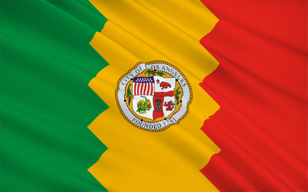 eldorado: The national flag of Los Angeles - a city in the south of the US state of California, located on the Pacific coast, is the administrative center of the district of the same name, as well as the center of the Greater Los Angeles Stock Photo