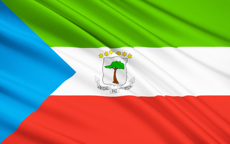 deposed: The flag of Equatorial Guinea - adopted on August 21st 1979. The six stars on the map represent the countrys mainland and five islands. Under dictator Francisco Nguema the flag was modified, after he was deposed the original flag was restored.