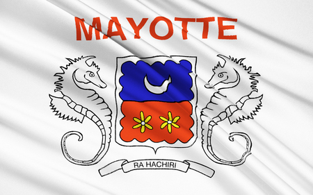 possession: The National Flag of Mayotte - the official symbol of the island of Mayotte, a French possession in the Indian Ocean.