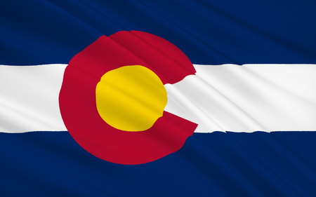 colorado mountains: The national flag the State of Colorado, Denver - United States