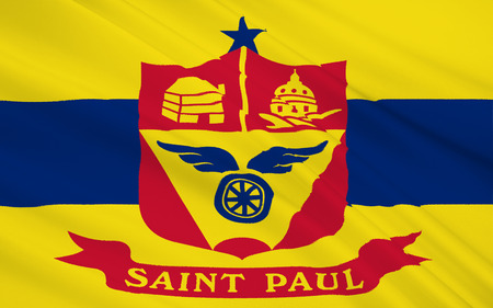 paul: The national flag of Saint Paul - a city in the north of the United States, the capital of Minnesota, the county seat of Ramsey. Stock Photo