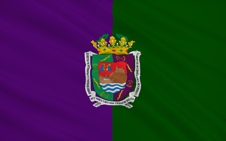 municipality: Flag of Malaga - a city in southern Spain, in Andalusia. The administrative center of the province of Malaga. The municipality is a part of the district comarca Malaga - Costa del Sol. Stock Photo