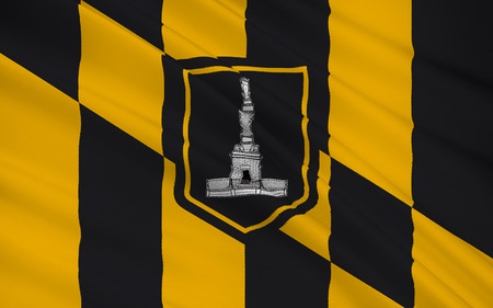 allegiance: The national flag Baltimore - an independent city in the east of the United States, the large settlements of Maryland. Stock Photo