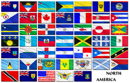 alphabetical order: Flags set of North American countries in alphabetical order on a white background