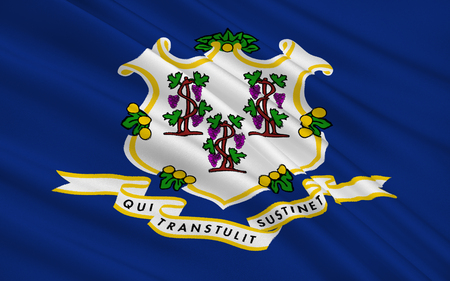 The national flag of the State of Connecticut, Hartford - United States Imagens