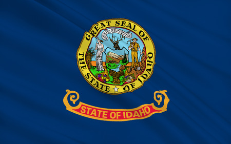 pacific northwest: The national flag of the State of Idaho, Boise - United States Stock Photo