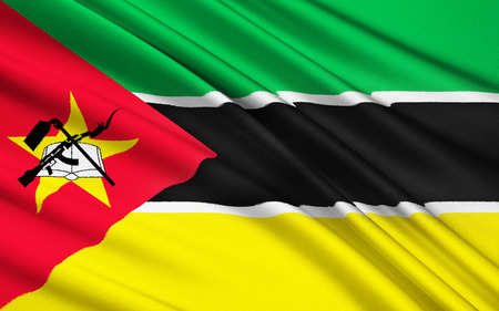 ak47: Flag of Mozambique - adopted on 1 May 1983. It includes the image of an AK-47 with a bayonet attached to the barrel and is the only national flag in the world to feature such a modern weapon.