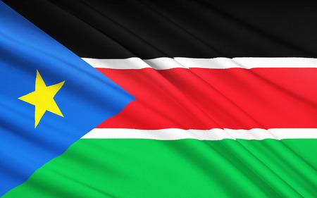 south sudan: The national flag of South Sudan, Juba Stock Photo