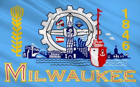 lake district: The national flag of Milwaukee - the city in the north of the United States, the administrative center of the eponymous district in the state of Wisconsin. The port on the shore of Lake Michigan. Stock Photo