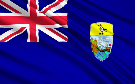 The National flag Islands Saint Helena, Ascension and Tristan da Cunha - British overseas territory consisting of the islands of St. Helena and Ascension, as well as the archipelago of Tristan da Cunha, located in the South Atlantic to the west of the Afr