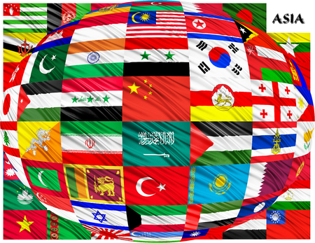 Flags of Asian countries in alphabetical order on a white background