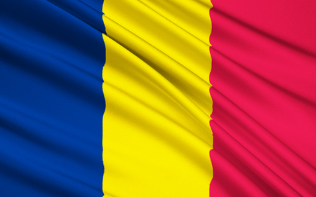 chadian: The national flag of Chad. The flag is very similar to the civil flag of Andorra and the flag of Romania. The similarity with the Romanian flag, which differs only in having a lighter shade of blue, has caused international issues. Stock Photo