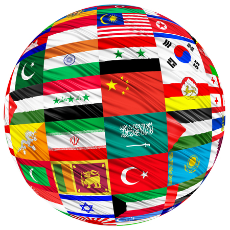 developed: Collage of the flags of Asian countries in the form of spheres on a white background