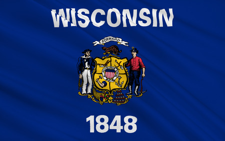 madison: The national flag of the State of Wisconsin, Madison - United States Stock Photo
