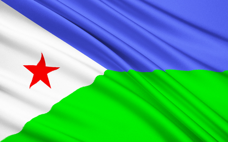 somalis: Flag of Djibouti - adopted on 27th June 1977, following the countrys independence from France. The light blue represents the Issa Somalis, and the green represents the Afars. The Republic of Djibouti, is located in the Horn of Africa. Stock Photo