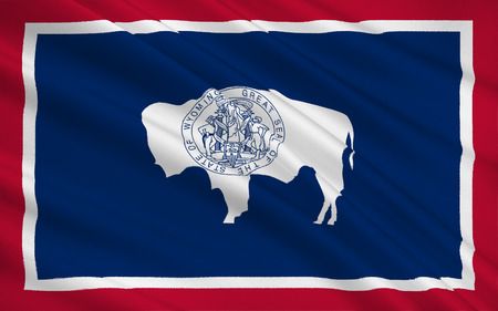 wave equality: The national flag of the State of Wyoming, Cheyenne - United States Stock Photo